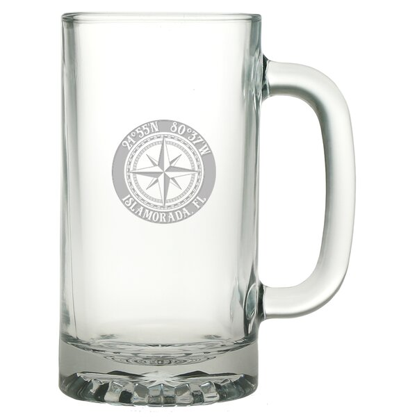 Galvez Compass 16 oz. Glass Beer Mug (Set of 4) by Longshore Tides