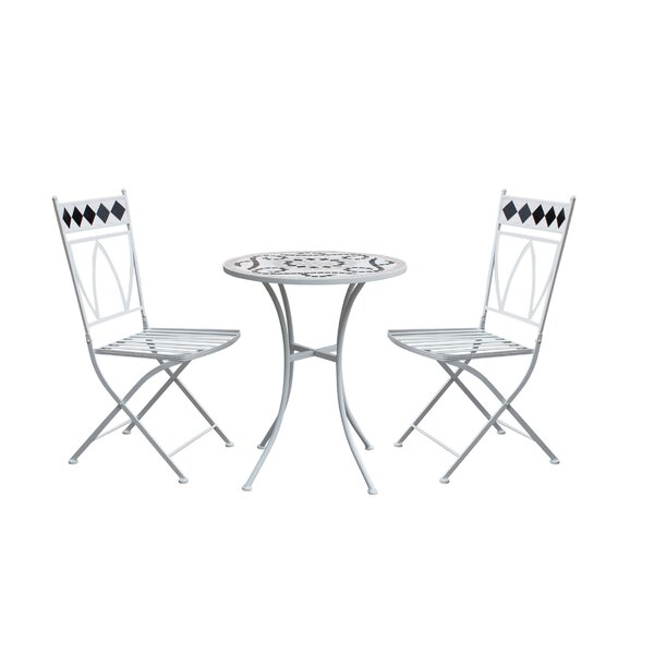 Rachele Patio 3 Piece Metal Bistro Set by Ophelia & Co.