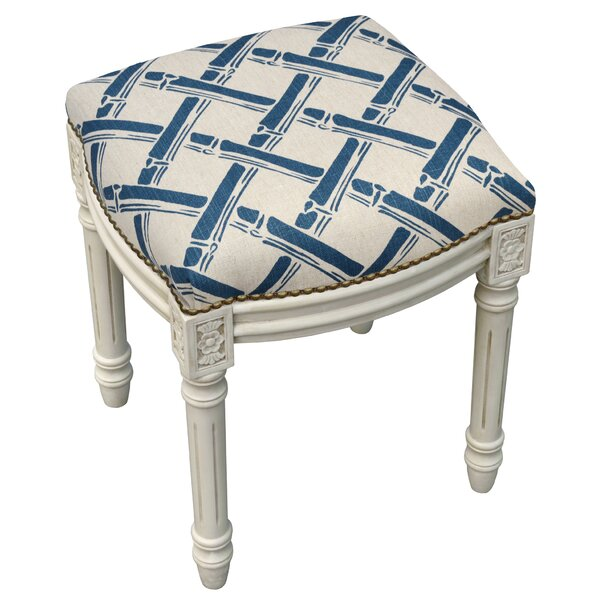 Bamboo Trellis Linen Upholstered Vanity Stool with Nailhead by 123 Creations