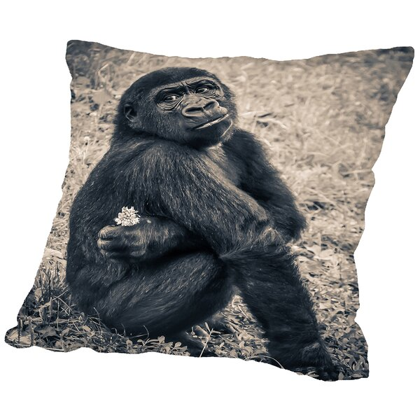 Chimpanzee Gorilla Throw Pillow by East Urban Home
