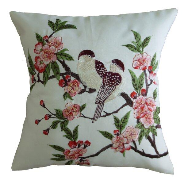 Mante Carlo Decorative Embroidered Bird Design Fine Burlap Pillow Cover by Violet Linen