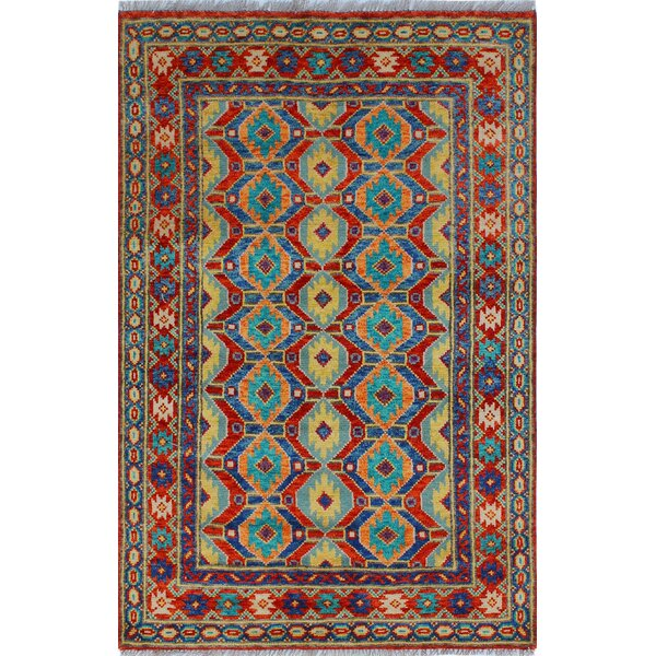 One-of-a-Kind Millender Osakwe Hand-Knotted Wool Red/Blue Area Rug by Bloomsbury Market