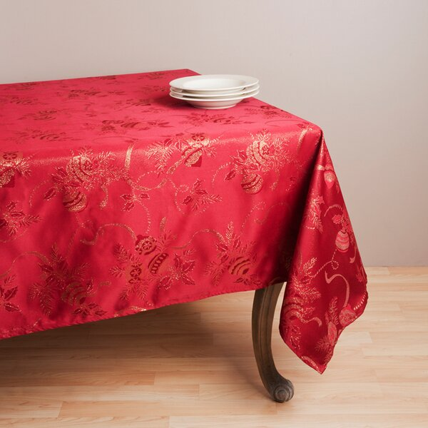 Royal De Noel Jacquard Xmas Tablecloth by The Holiday Aisle