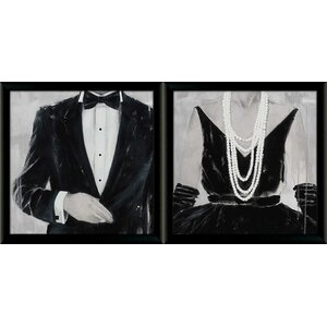 'Black Tie Optional and the Way She Looks Tonight' by Anfrea Stajan-Ferkul 2 Piece Framed Acrylic Painting Print Set by Star Creations