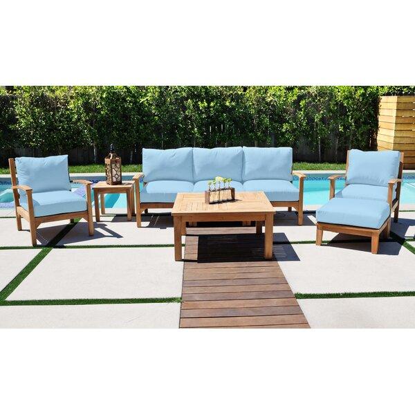 Crescio 8 Piece Teak Sofa Seating Group with Sunbrella Cushions by Foundry Select