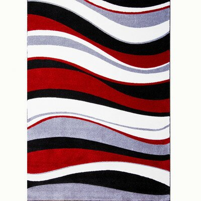 Schmitt Hand-Carved Red/Black Area Rug by Ebern Designs