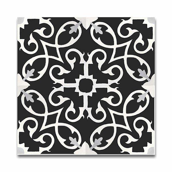 Agadir 8 X 8 Handmade Cement Tile in Black/White by Moroccan Mosaic