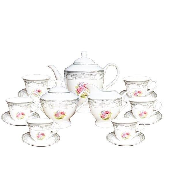 Fabien Floral Print 17 Piece Tea Set by August Grove