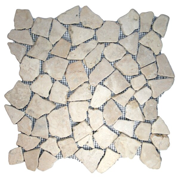 Muna Random Sized Natural Stone Mosaic Tile in Ecru White by CNK Tile
