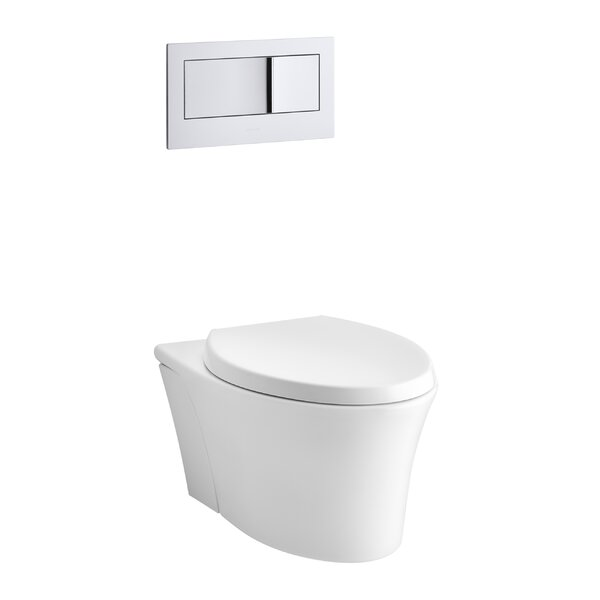 Veil One-Piece Elongated Dual-Flush Wall-Hung Toilet with Reveal Quiet-Close Seat and 2X6 In-Wall Tank and Carrier System by Kohler