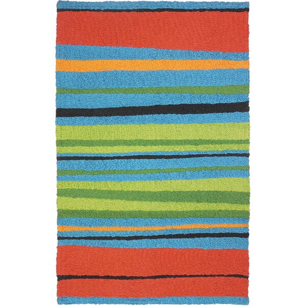 Millard Alfresco Stripe Hand-Hooked Blue/Green Indoor/Outdoor Area Rug by Bay Isle Home