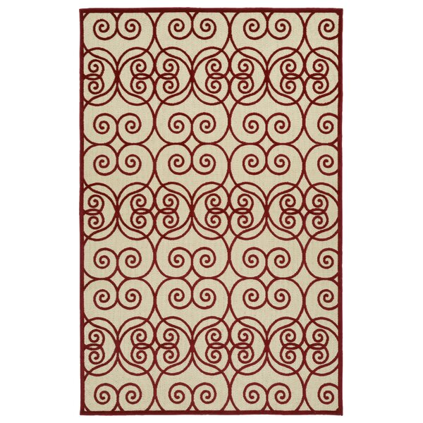 Covedale Machine Woven Red/Cream Indoor/Outdoor Area Rug by Charlton Home