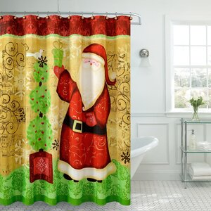 Christmas Greetings Santa Claus Shower Curtain