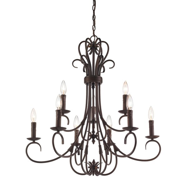 Gaines 9-Light Candle Style Tiered Chandelier by Alcott Hill Alcott Hill