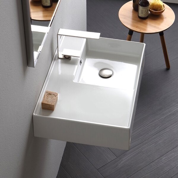 Ceramic 32'' Wall Mounted Bathroom Sink with Overflow by Scarabeo by Nameeks
