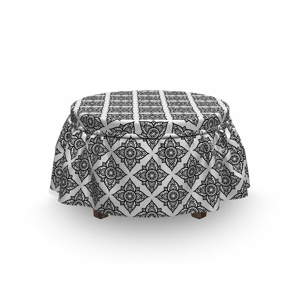Floral Monotone Motif Ottoman Slipcover (Set Of 2) By East Urban Home