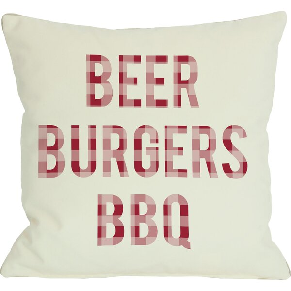 Beer Burgers BBQ Throw Pillow by One Bella Casa