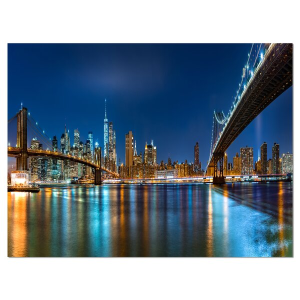Brooklyn and Manhattan Bridges Night Photographic Print on Wrapped Canvas by Design Art