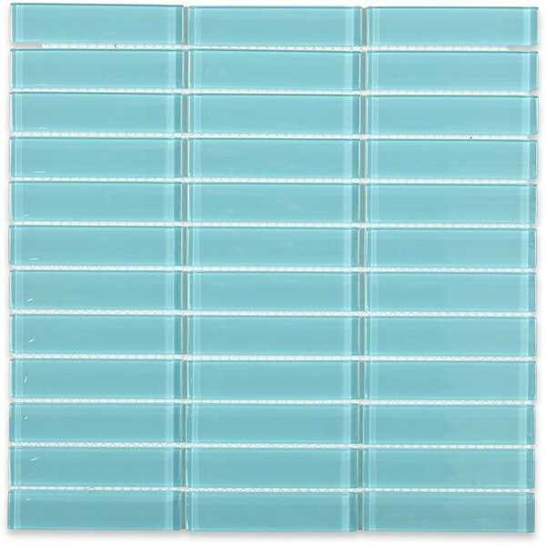 Contempo 1 x 4 Glass Mosaic Tile in Turquoise by Splashback Tile