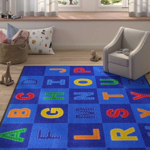 Altitude Patchwork Letters Blue Area Rug by Zoomie Kids