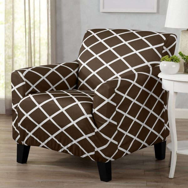 Form Fitting Stretch Diamond Printed T-cushion Armchair Slipcover by Winston Porter