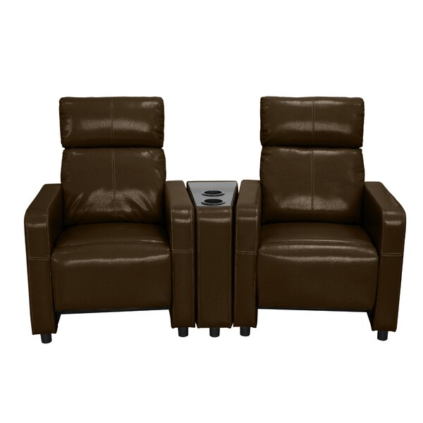 furniture shop theater brown sale on middle power cup klaussner seating holder with recline loveseat consoles bonded row leather of storage home dual atlas