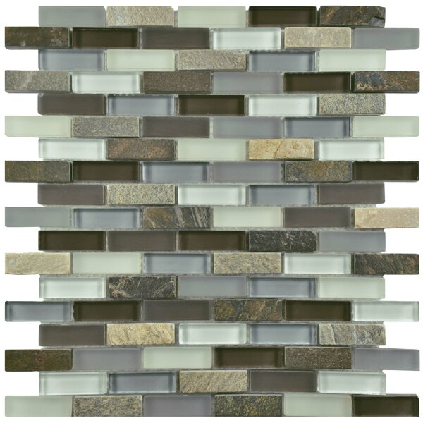 Sierra 0.58 x 1.88 Glass and Natural Stone Mosaic Tile in Brown/Cream by EliteTile