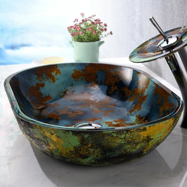 Voce Glass Oval Vessel Bathroom Sink with Faucet b