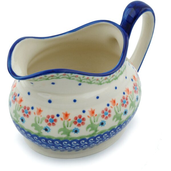 Polish Pottery Spring Flowers Gravy Boat by Polmedia