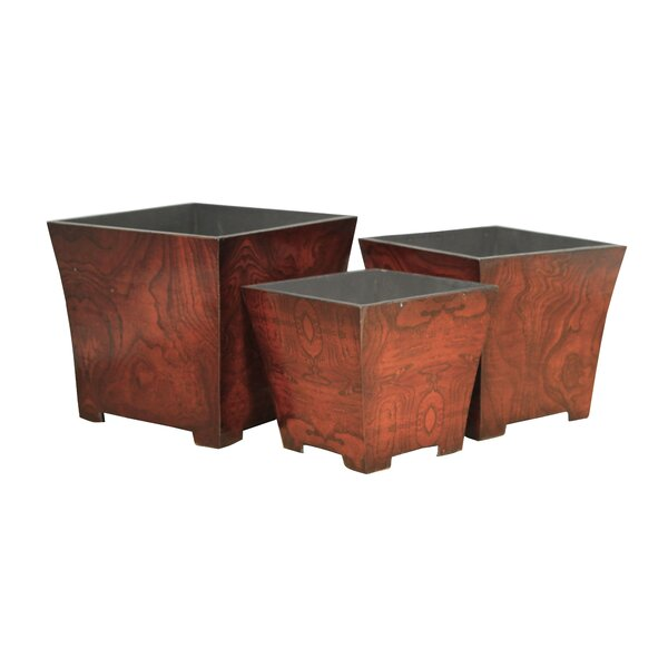 3-Piece Wood Pot Planter Set by Cheungs