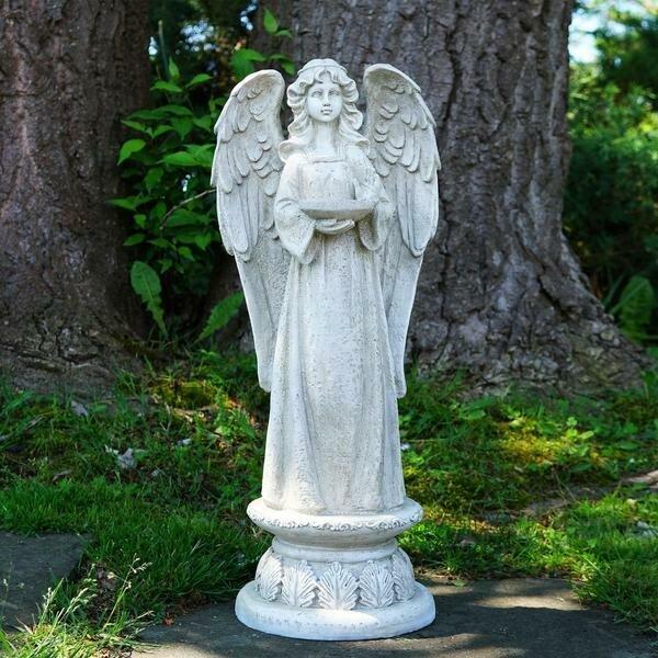 Standing Religious Angel Outdoor Garden Statue With Bird Bath Or Votive  Candle Holder