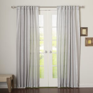 Metallic Shimmer Linen Blend Solid Blackout Grommet Curtain Panels (Set of 2)