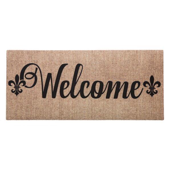 Ceron Burlap Welcome Fleur de Lis Sassafras Switch Doormat by Fleur De Lis Living