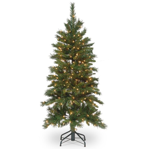 The Holiday Aisle Slim Hinged 4 5 Green Fir Trees Artificial Christmas Tree With 250 Incandescent Clear White Lights Reviews Wayfair
