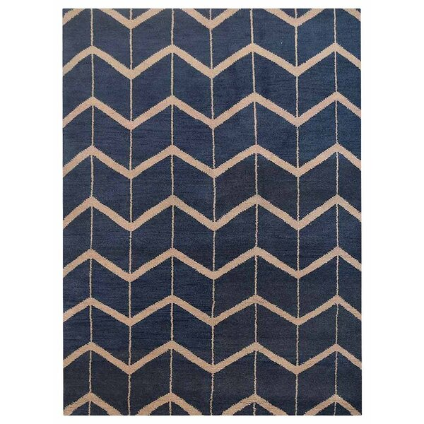 Johns Hand-Knotted Wool Blue/Beige Area Rug by Latitude Run