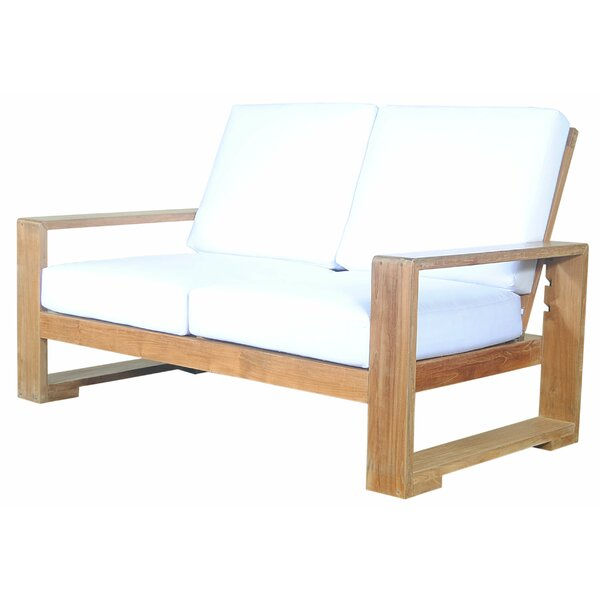 Lochlan Deep Seating Teak Loveseat with Sunbrella Cushions by Rosecliff Heights