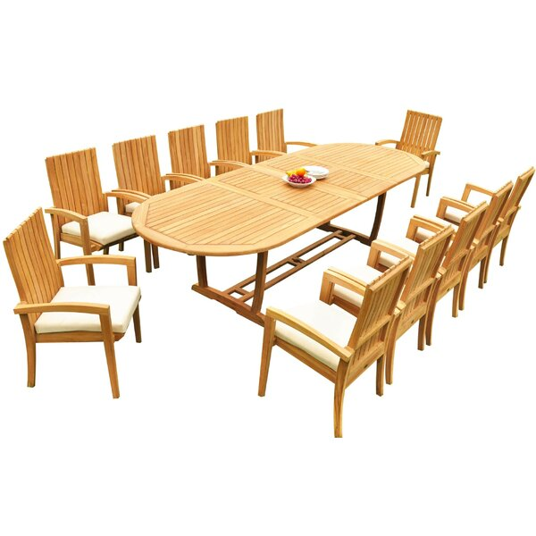 Willoughby 13 Piece Teak Dining Set by Bayou Breeze