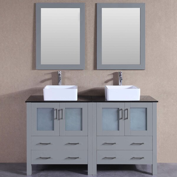Amie 59 Double Bathroom Vanity Set with Mirror by Bosconi