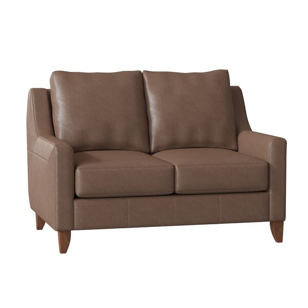Discount Haleigh Leather Loveseat