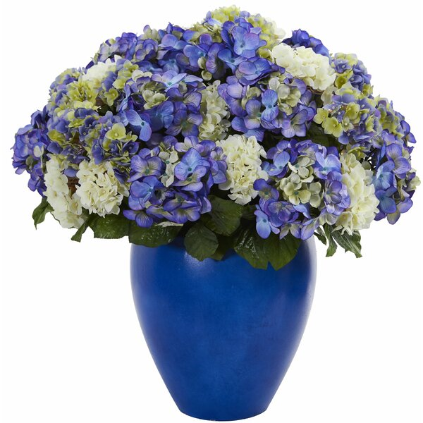 Artificial Hydrangea Plant Centerpiece in Planter by Rosecliff Heights
