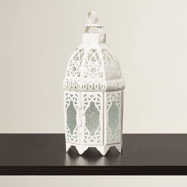 White Glass / Metal Lantern by Mistana