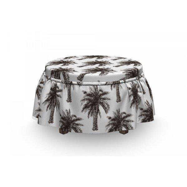 Check Price Palm Tree Retro Growth Lush 2 Piece Box Cushion Ottoman Slipcover Set