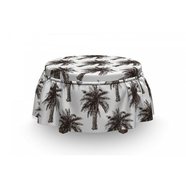 Palm Tree Retro Growth Lush 2 Piece Box Cushion Ottoman Slipcover Set By East Urban Home