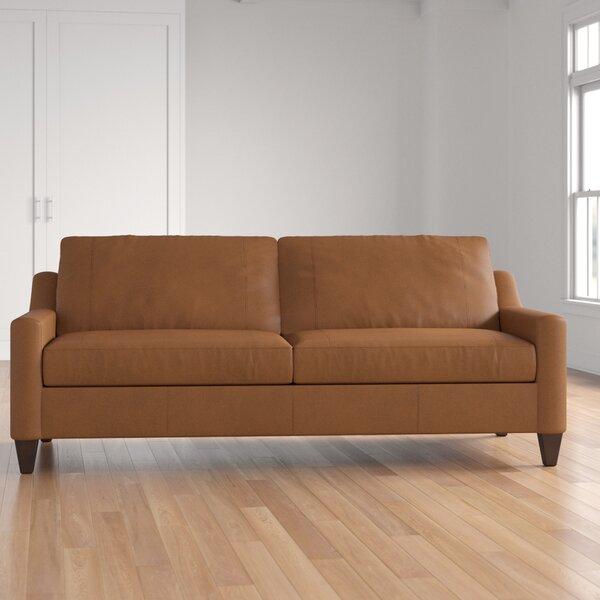 Lancashire Leather Sofa By Three Posts