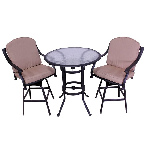 Ross 3 Piece Sunbrella Bistro Set with Cushions by Fleur De Lis Living