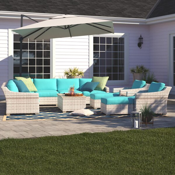 Falmouth 13 Piece Rattan Sectional Seating Group with Cushions by Sol 72 Outdoor