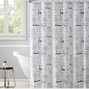 Dimartino 15 Piece Follow Your Heart Printed Typography Shower Curtain Set