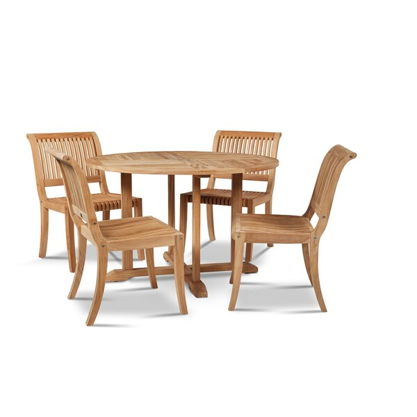 Dinapoli 5 Piece Teak Sunbrella Dining Set by Darby Home Co