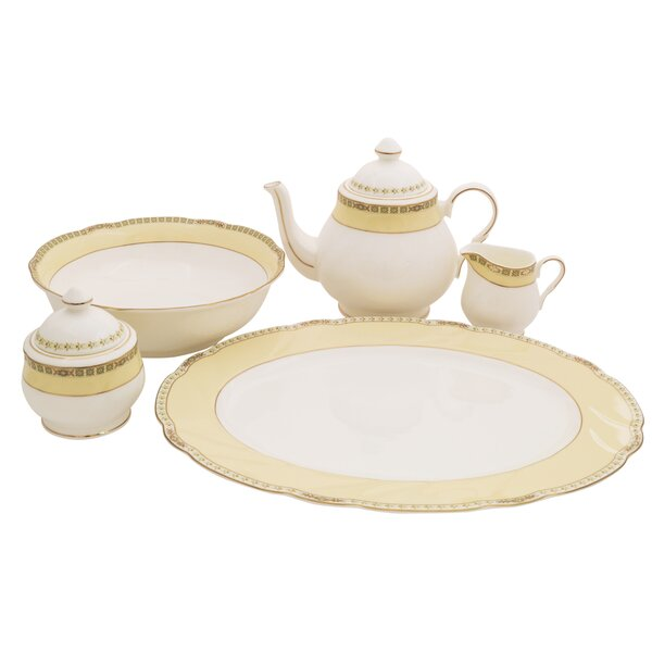 Cassabianca Bone China Traditional Serving 5 Piece Dinnerware Set by Shinepukur Ceramics USA, Inc.