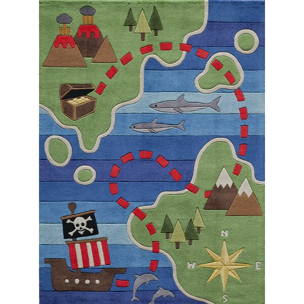 Bailey Hand-Tufted Green/Blue Kids Rug by Zoomie Kids